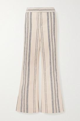 Monse Striped Cotton And Linen-blend Wide-leg Pants - Ecru