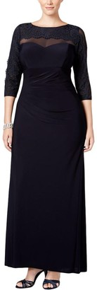 Xscape Evenings Women's Plus Size Long Ity with Lace Sleeves