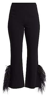 Cinq à Sept Women's Portia Feather-Cuff Crop Flare Pants