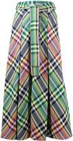 Talbot Runhof belted check maxi skirt