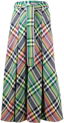 Talbot Runhof Belted Check Maxi Skirt
