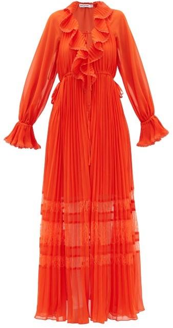 Self-Portrait Lace-trimmed Pleated Chiffon Dress - Orange