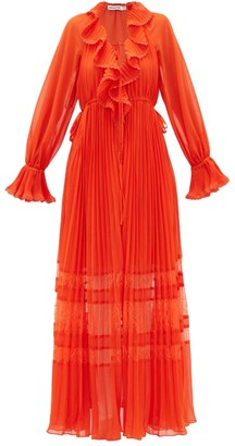 Self-Portrait Lace-trimmed Pleated Chiffon Dress - Orange