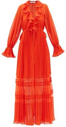 Self-Portrait Lace-trimmed Pleated Chiffon Dress - Womens - Orange