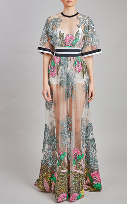 Elie Saab Embroidered Tulle Maxi Dress