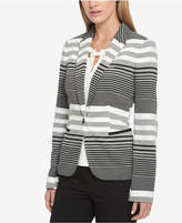 Tommy Hilfiger Striped Elbow-Patch Knit Blazer