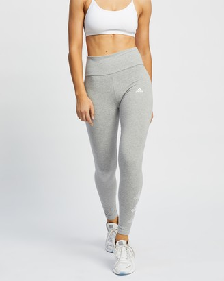 adidas Women's Grey Tights - Stacked Logo High-Rise Leggings - Size XS at The Iconic