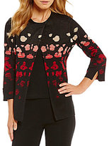 Ming Wang Jewel Neck Ombre Pattern Jacket