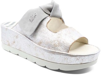 Fly London Women's Sandals 006 - Pearl & Concrete Platform Bade Leather Slide - Women