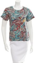 Sea Paisley Print Crew Neck Top w/ Tags