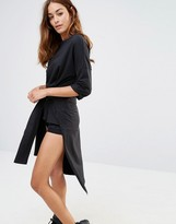 Noisy May High Low Tie Front Sweat Dress