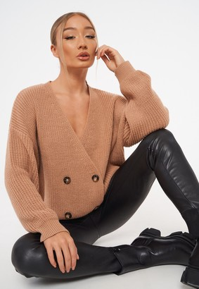 Missguided Stone Knit Double Breasted Cardigan