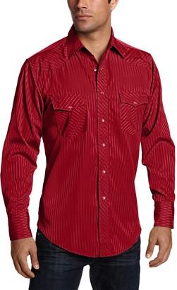 Wrangler Mens Sport Western Two Pocket Long Sleeve Snap Shirt