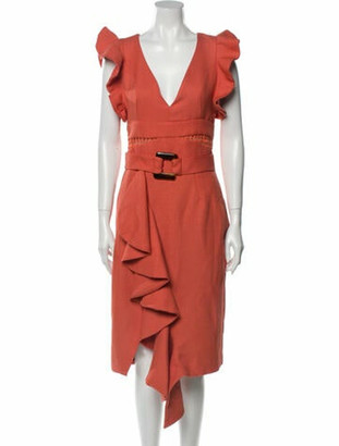 PatBO V-Neck Midi Length Dress Orange