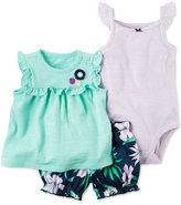 Carter's 3-Pc. Top, Striped Bodysuit & Bubble Shorts Set, Baby Girls (0-24 months)