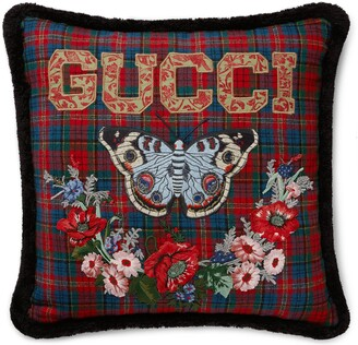 Gucci Check wool cushion with butterfly