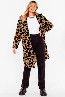 Nasty Gal Womens Go Faux Fur It Leopard Longline Coat - Beige - L