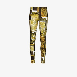 Versace Baroque patchwork print leggings