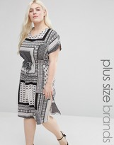 Koko Plus Shift Dress With Side Splits In Scarf Print