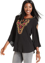 Style&Co. Top, Three-Quarter-Sleeve Embroidered Blouse