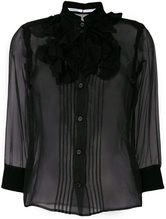 Givenchy sheer ruffle placket blouse