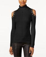 XOXO Juniors' Embellished Cold-Shoulder Sweater
