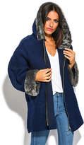 Blue Faux Fur-Trim Hooded Wool-Blend Zip-Up Coat - Plus Too