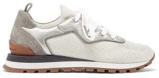 Brunello Cucinelli Knitted-vamp Suede And Metallic-leather Trainers - Silver