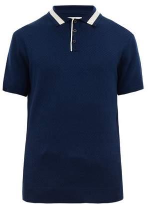 King & Tuckfield - Chevron-knitted Wool Polo Shirt - Mens - Navy