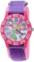Disney Girl's 'Tinker Bell' Quartz Plastic and Nylon Casual Watch, Color:Purple (Model: WDS000108)