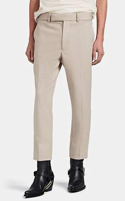Haider Ackermann Men's Embroidered-Stripe Fleece Wool Slim Crop Trousers - Cream