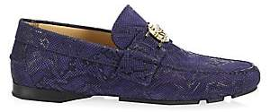 Versace Men's Snake-Print Leather Drivers