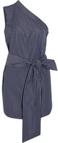 Stella McCartney One-shoulder Pinstriped Cotton-poplin Top - Navy