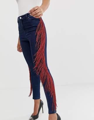 Asos Design DESIGN High waisted skinny jeans in dark wash with side fringe detail-Blue