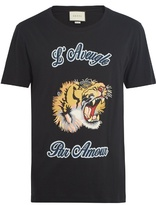 GUCCI Tiger-appliqué cotton T-shirt