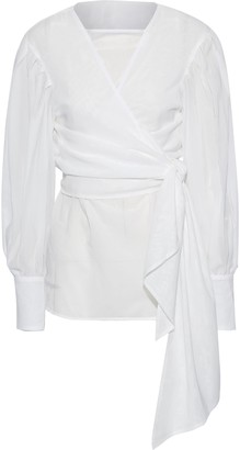 ADEAM Layered Cotton Wrap Top