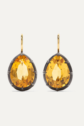Fred Leighton Collection 18-karat Gold, Sterling Silver And Citrine Earrings - one size