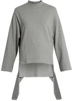 Balenciaga Draped-panel round-neck cotton sweatshirt