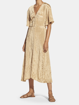 Vince Textured V-Neck Midi Dress