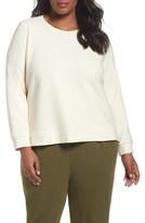 Eileen Fisher Plus Size Women's Stripe Knit Cotton Blend Pullover