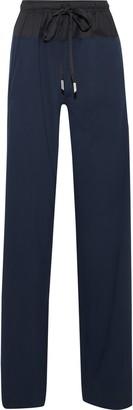 Cédric Charlier Twill-paneled Wool-blend Straight-leg Pants