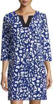 Laundry by Shelli Segal 3/4-Sleeve Printed Jersey Dress, Jubilee Blue