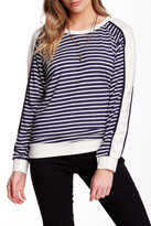 Fraiche By J Striped Contrast Sleeve Pullover