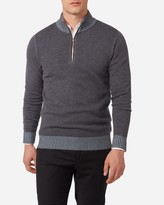 Two Tone Half Zip Cashmere Jumper