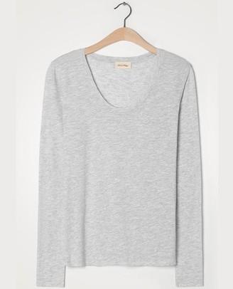 American Vintage Jacksonville Long Sleeve Grey T Shirt - X Small