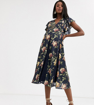 ASOS DESIGN Maternity midi dress with lace insert godets in navy floral