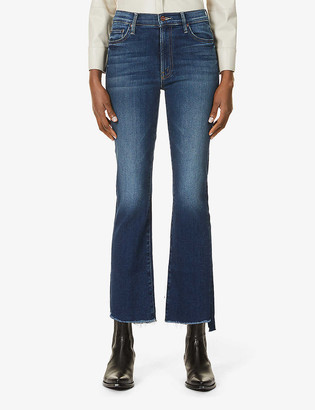 Mother Insider Crop Fray mid-rise cotton-blend jeans