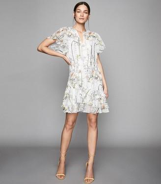 Reiss JUNO FLORAL PRINTED MINI DRESS White