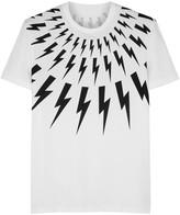 Neil Barrett White Lightning-print Cotton T-shirt
