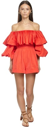 Valentino Ruffled Faille Off-the-shoulder Jumpsuit